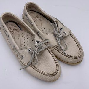 Sperry Off White Leather Boat Shoes